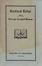 Thumbnail image of Rockland Lodge F & A.M., Lodge No. 723 Roster for 1934 cover