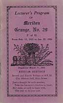 Thumbnail image of Meriden Grange, No. 29, 1925-6 Program cover