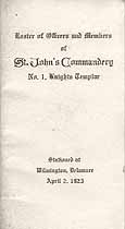 Thumbnail image of St. John's Commandery K. T. 1923 Roster cover
