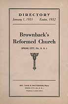 Thumbnail image of Brownback's Reformed Church 1932 Directory cover