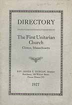 Thumbnail image of Clinton First Unitarian Church 1927 Directory cover