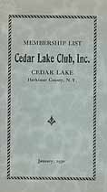 Thumbnail image of Cedar Lake Club 1930 Membership List cover