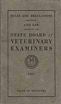 Thumbnail image of Kentucky Licensed Veterinarian Listing for 1921 cover