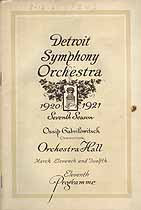 Thumbnail image of Detroit Symphony Orchestra 1920-1921 Programme cover