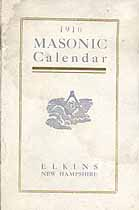 Thumbnail image of Elkins 1916 Masonic Calendar cover