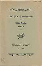 Thumbnail image of St. Paul Commandery, K. T., 1900 Memorial Service cover
