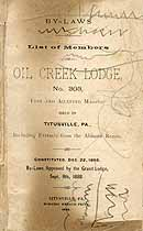 Thumbnail image of Oil Creek Lodge No. 303, 1888 Roster cover