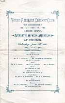 Thumbnail image of Young America Cricket Club 1881 Athletic Spring Meeting Program cover