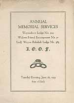 Thumbnail image of Waynesboro Lodge, No. 219, I.O.O.F. 1931 Memorial Services cover