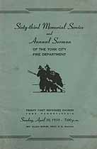 Thumbnail image of York City Fire Department 1939 Memorial Service cover