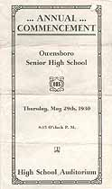 Thumbnail image of Owensboro Senior High School 1930 Commencement cover