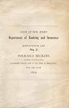 Thumbnail image of New Jersey Insurance Broker 1914 Supplement No. 2 cover