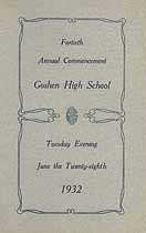 Thumbnail image of Goshen High School 1932 Commencemnet cover