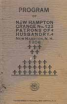 Thumbnail image of New Hampton Grange, No. 123, 1906 Program cover