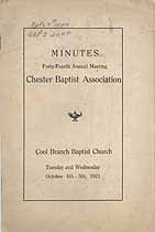 Thumbnail image of Chester Baptist Association 1921 Report cover