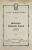Thumbnail image of Solomon's Reformed Church 1932 Directory cover