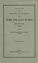 Thumbnail image of Boston Home for Aged Women 1929 Report cover