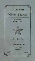 Thumbnail image of Naomi Chapter O. E. S. 1925 Calendar cover