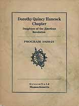 Thumbnail image of Dorothy Quincy Hancock DAR Chapter 1920-1921 Program cover