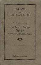 Thumbnail image of Rochester Lodge, No. 13 I. O. O. F. 1928 By-Laws cover
