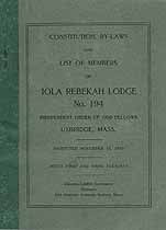 Thumbnail image of Iola Rebekah Lodge 1924 By-Laws cover
