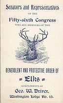 Thumbnail image of List of U. S. Senators and Representatives (56th Congress) that are Elks Members cover