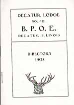 Thumbnail image of Decatur Lodge No. 401, B. P. O. E. 1902 Directory cover