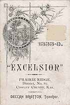 Thumbnail image of Prairie Ridge No. 82 School 1888-9 Souvenir cover