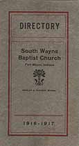 Thumbnail image of South Wayne Baptist Church 1916-1917 Directory cover