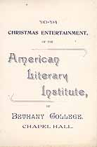 Thumbnail image of Bethany College, American Literary Institute, 1893-94, Christmas Program cover