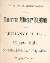 Thumbnail image of Bethany College, American Literary Institute, 1894, Anniversary Program cover