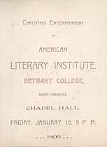 Thumbnail image of Bethany College, American Literary Institute, 1896, Christmas Program cover