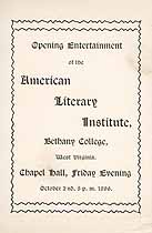 Thumbnail image of Bethany College, American Literary Institute, 1896, Opening Performance cover