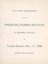 Thumbnail image of Bethany College, American Literary Institute, 1896, Anniversary Program cover