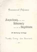 Thumbnail image of Bethany College, American Literary Institute, 1897, Commencement Performance cover