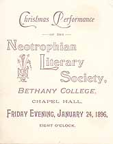 Thumbnail image of Bethany College, Neotrophian Literary Society, 1896, Christmas Performance cover