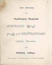 Thumbnail image of Bethany College, Neotrophian and American Literary Societies, 1895, Anniversary Program cover