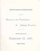 Thumbnail image of Bethany College, Neotrophian and American Literary Societies, 1897, Entertainment Program cover