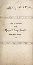 Thumbnail image of Monmouth County Courts, 1889 List of Causes, January Term cover
