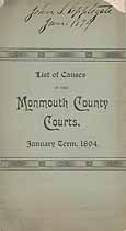 Thumbnail image of Monmouth County Courts, 1894 List of Causes, January Term cover