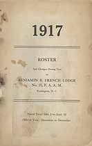 Thumbnail image of Benjamin B. French Lodge, F. A. A. M., 1917 Roster cover