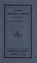 Thumbnail image of Hiram Lodge A. F. and A. M. 1921 Members cover