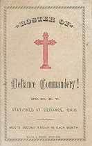Thumbnail image of Defiance Commandery, No. 30, K. T., List of 1884 Members cover