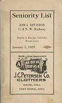 Thumbnail image of C. & N. W. Railway, Iowa Division 1929 Seniority List cover