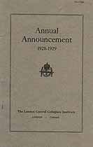 Thumbnail image of London Central Collegiate Institute 1928-1929 Announcement cover