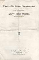 Thumbnail image of Minneapolis South High School 1914 June Commencement cover