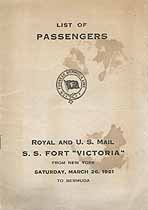 Thumbnail image of Fort Victoria 1921 Souvenir Passenger List (NY to Bermuda) cover