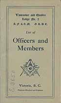 Thumbnail image of Vancouver and Quadra Lodge No. 2, A. F. and A. M. 1918 Members cover