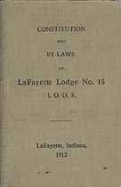 Thumbnail image of LaFayette Lodge, No. 15 I. O. O. F. 1912 By-Laws cover