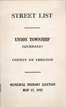 Thumbnail image of Union Township (Lickdale) 1955 Primary Voter List cover
